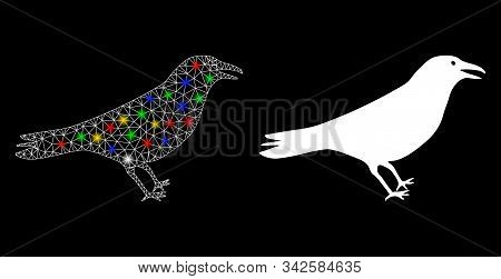 Glossy Mesh Crow Icon With Lightspot Effect. Abstract Illuminated Model Of Crow. Shiny Wire Carcass