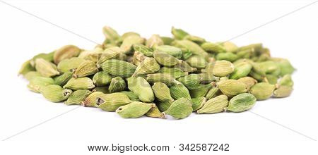 Cardamom Pods Isolated On White Background. Green Cardamon Seeds. Clipping Path.
