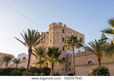 Yasmine Hammamet, Tunisia - July 26 2018: A Modern Replica Of Old Medina In Yasmine Hammamet, Tunisi