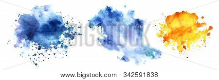 Set Three Decorative Elements. Abstract Hand-drawn Transparent Watercolor Backgrounds. Three Shapele