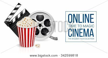 Cinematograph Concept Banner Design Template With Movie Clapper Board, Popcorn In The Striped Bag An
