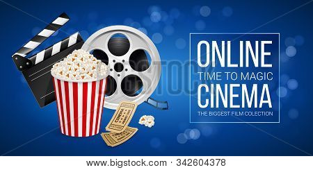 Cinematograph Concept Banner Design Template With Movie Clapper Board, Cinema Ticket, Popcorn In The