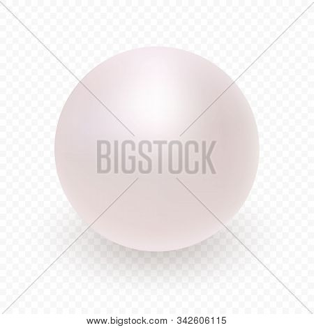 Pearl Icon Isolated On Transparent Background. Spherical Beautiful 3d Orb With Transparent Glares An