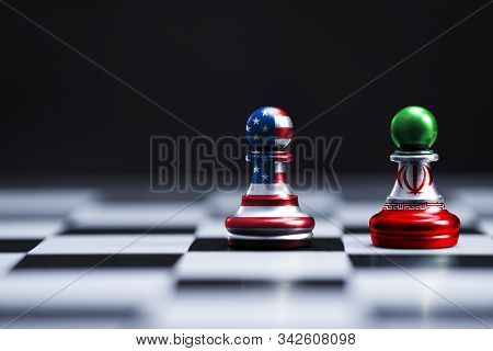 Usa Flag And Iran Flag Print Screen On Chess With Black Background.it Is Symbol Of United State Of A