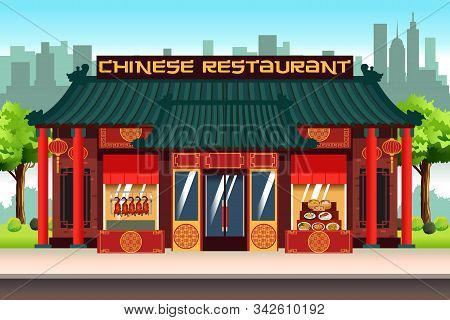 A Vector Illustration Of Chinese Asian Restaurant