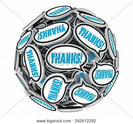 Thanks Appreciation Gratitude Speech Bubbles Thank You Sphere 3d Illustration