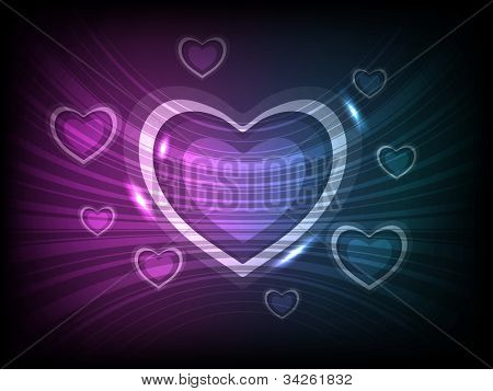 Abstract greeting, gift card or flyer with shiny heart shapes on wave background in purple and blue color abstract love background. EPS 10.