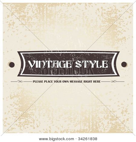 Old brown color retro grunge label background with ribbon and vintage style. EPS 10. Can be use as banner, label, tag or sticker.