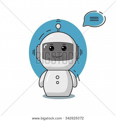 Chatbot With Speech Bubble Vector Illustration. Cute Chat Bot Or Chatterbot Support Concept