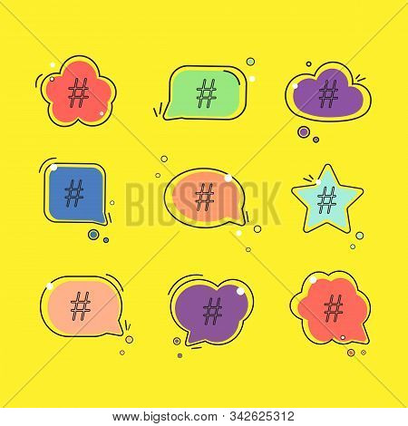 Hashtag Icon In Speech Bubble Set. Concept Of Number Sign, Social Media And Web Communicate Flat Sty