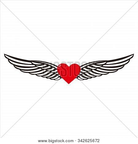 Heart Icon. Heart Icon With Isolated Wings Against A White Background. Eps Heart Icon. Hearts And Wi