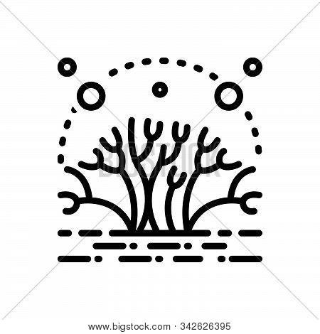 Black Line Icon For Algae Moss Alga Fungus Mossy Natural Green