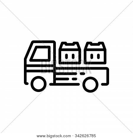 Black Line Icon For Cargo Goods Wares Stock Commodities  Shipping  Freight