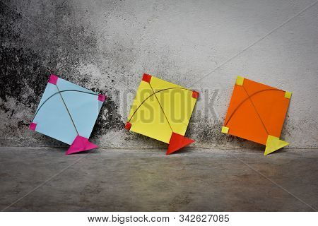 Colorful Indian Paper Kites, Makar Sankranti Festival Concept