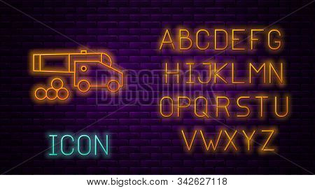 Glowing Neon Line Cannon With Cannonballs Icon Isolated On Brick Wall Background. Medieval Weapons.