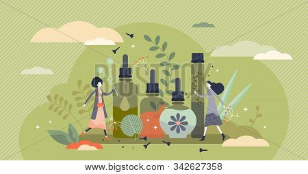 Essential Oils Vector Illustration. Beauty Cosmetics In Flat Tiny Persons Concept. Women Skincare Fo