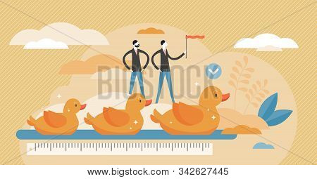 Get Your Ducks In Row Visualization Vector Illustration In Flat Tiny Persons Concept. Idiom With Mea