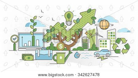 Green Business And Sustainable Energy Outline Concept Vector Illustration. Alternative Renewable Sol