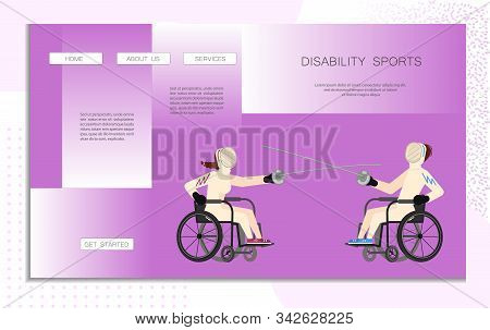 Landing Web Page Template Disability Sport. Wheelchair Users Man And Woman Have A Fencing Moves. Dis