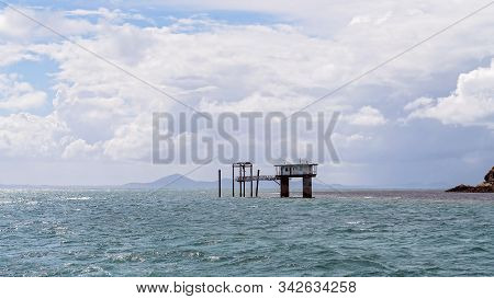 Old Disused Underwater Observatory At Great Keppel Island, Australia, Where Tourists Used To View Th