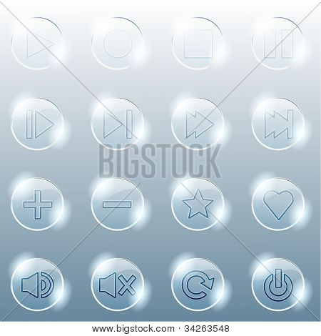 Basic set of transparent glass buttons