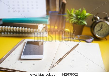 Diary,calendar And Agenda For Planner To Plan Timetable,appointment,organization,management On Table