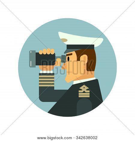 Captain Looking Through Binoculars. Web Icon. Vector Illustration.