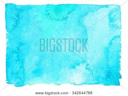 Abstract Sky Blue Painted Watercolor Texture As Background