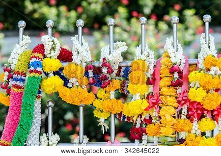 Garland Of Marigolds Pay Respect To The Shrine