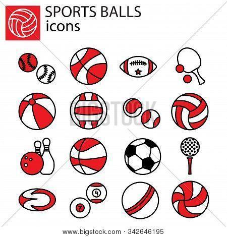 Web Line Set. Sports Balls Vector Red