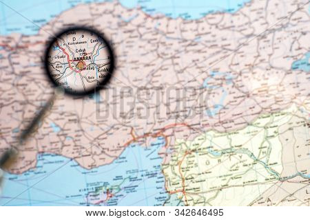 Geographical Map Of Turkey With The Increase Of The Capital Ankara. The Concept Of News And Events S