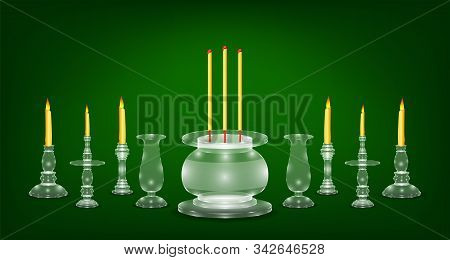 Luxury White Emerald Crystal Glass Incense Flower Candle Vase Base. Green Color Background. Vector I