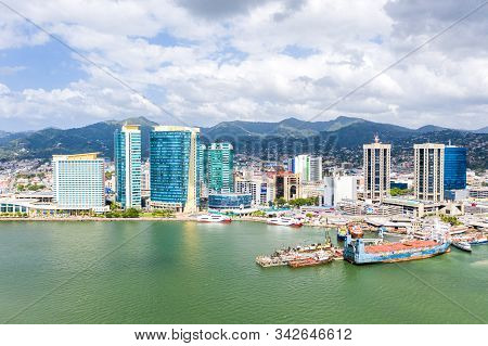 Port Of Spain, Trinidad And Tobago - Dec 24 2019: Aerial View Of The Capital City Of A Tropical Isla