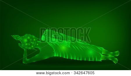 Luxury Green Emerald Crystal Monk Phra Buddha Sleeping Meditation For Pray Concentration Composed Re