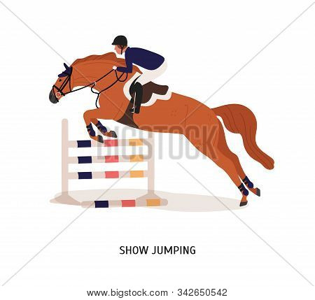 Show Jumping Flat Vector Illustration. Horse Rider, Athlete Cartoon Character. Equestrian Show, Hors