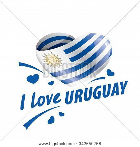 The National Flag Of The Uruguay And The Inscription I Love Uruguay. Vector Illustration
