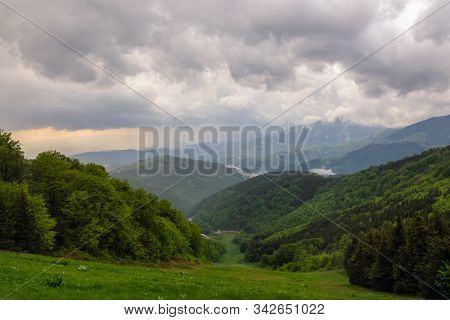 Green Valley Nature Landscape. Mountain Layers Landscape. Rain In Mountain Forest Landscape. Forest