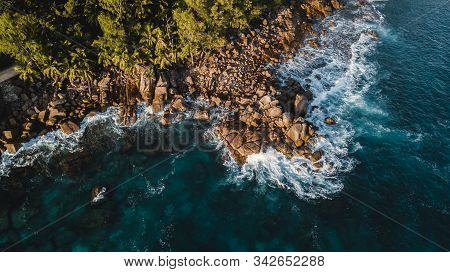 Aerial View Of Beautiful Island At Seychelles In The Indian Ocean. Top View From Drone. Spectacular