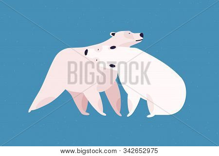 Polar Bears Couple Flat Vector Illustration. Animal Family Embrace, Love And Fondness, Tenderness An