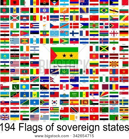 Sao Tome And Principe, Collection Of Vector Images Of Flags Of The World.