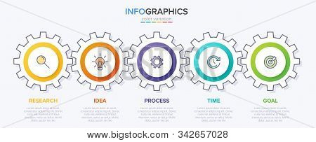 Infographic Design With Icons And 5 Options Or Steps. Thin Line. Infographics Business Concept. Can