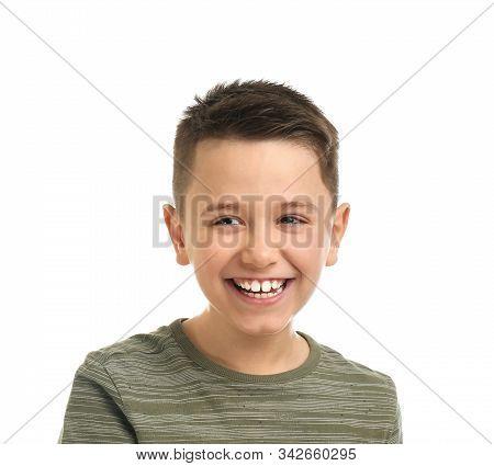 Portrait Of Preteen Boy On White Background