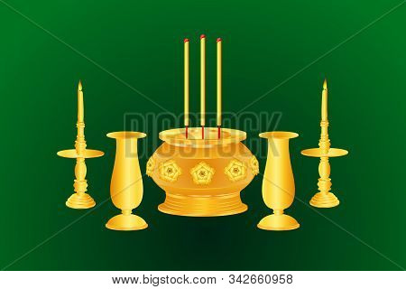 Incense Candle Vase Base Thai India Chinese Gold Color Vector Illustration Eps10