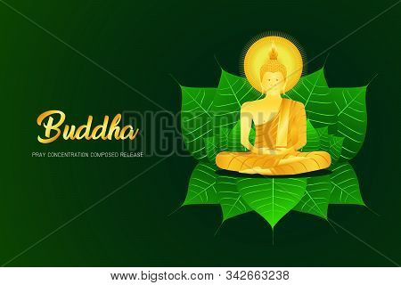 Monk Phra Buddha Pray Sit Concentration Composed Release On Pho Leaf Religion Culture Faith Vector I