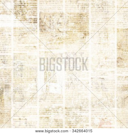 Old Grunge Newspaper Paper Textured Square Background. Vintage Newspapers Texture. Newsprint Typed S