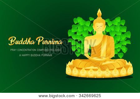 Happy Buddha Purnima Monk Phra Buddha Pray Concentration Composed Release Front Of Pho Leaf Religion