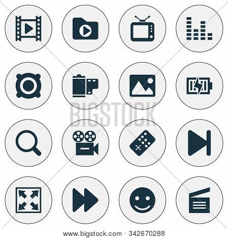 Multimedia Icons Set With Search, Camera, Movie Clap And Other Photo Elements. Isolated Vector Illus