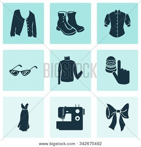 Fashion Design Icons Set With Bow Knot, Short Cardigan, Sewing Machine And Other Jacket Elements. Is