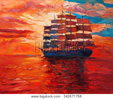 Original Oil Painting Of Sailing Frigate Or Ship And Sea On Canvas.rich Golden Sunset Over Ocean.mod