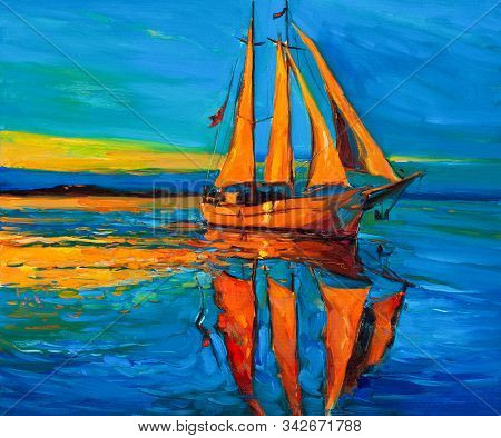 Original Oil Painting Of Sailing Ship And Sea On Canvas.rich Golden Sunset Over Ocean.modern Impress
